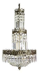 gustavian swedish chandelier crystal basket in oxidised brass colour ebony 503
