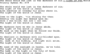 The Light Of The World Is Jesus Lyrics Trinity Hymnal Hymn The Whole World Was Lost In The