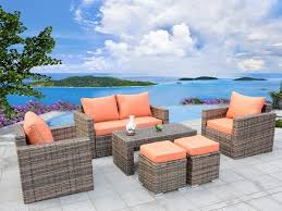 Ensenada Sunbrella 6 Piece Outdoor Wicker Patio Furniture Sectional