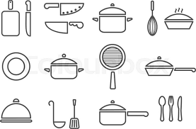 Trendy Kitchenware Vector Kitchenware Line Icon Set Cookware .
