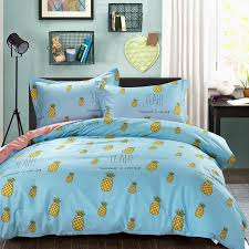 sky blue yellow and green fruit pineapple print rustic style shabby chic unique 100 cotton twin full size bedding sets