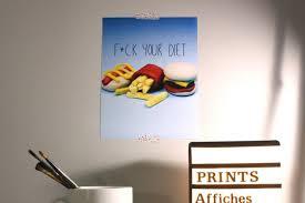 Diet Quotes Custom SALE Fck Your Diet Print Fast Food Quotes Prints Walls
