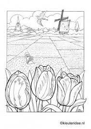 Kleurplaat Bollenvelden Nederland Kleuterideenl Dutch Spring