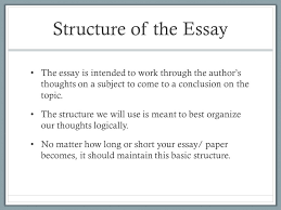 the structure of the essay explanation of paragraphs 13 structure of the essay