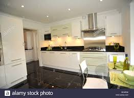 Kitchen Granite Worktop Modern Show Home Kitchen With Black Granite Worktops Stock Photo