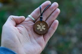 wood necklace star of life necklace or