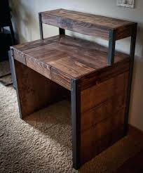 metal and wood desk wood working projects pallet wood desk tiered with metal leg office desk metal and wood desk