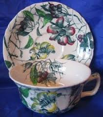 Decorative Cups And Saucers OLD Shabby Dark Green Toile Gold Poppy Cup Saucer Shabby Toile 67