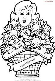 Kleurplaat Van Een Grote Mand Met Bloemen Schoolkleurplaten
