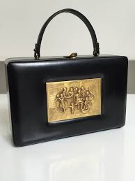 prestige 1960s french brass relief scene square black leather lunch box style handbag interior tan