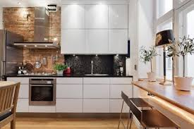 Decorations:Enchanting Industrial Kitchen With Marble Top Also Brick Wall  Design Excellent Modern Brick Kitchen