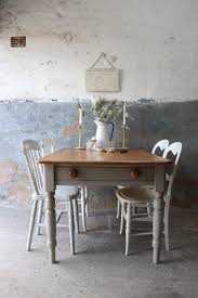 Rustic Pine Vintage Farmhouse Kitchen Table With Cutlery Drawer In