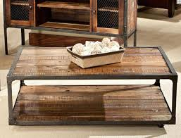 ... Coffee Table, Exciting Brown Rectangle Wood Rustic Industrial Coffee  Table With Storage Design To Setup ...