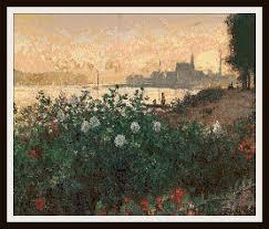 Fine Art Cross Stitch Designs Amazon Com Claude Monet Fine Art Cross Stitch Pattern 18