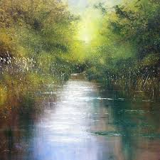 jonathan trim abstract painting the river stream abstract landscape painting