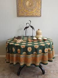 fl lotus round tablecloth green zen round tablecloth 70 90 inch saffron marigold