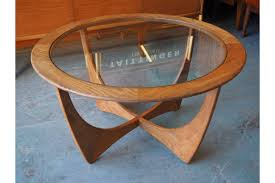 danish mid century teak circular coffee table with glass top photo 1