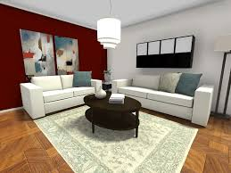 Small Room Ideas - Living Room Furniture Layout with Dark Red Accent Wall