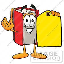 22577 clip art graphic of a book cartoon character holding a yellow s