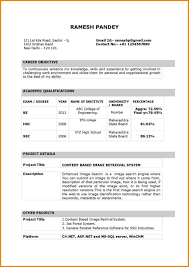Latest Resume Format Download For Freshers Lovely India Of Fresher