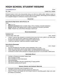 Sample Of A High School Resume High School Student Resume Sample