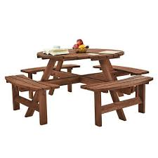 garden wooden round 8 seater picnic table wood bench for patios restaurants bars