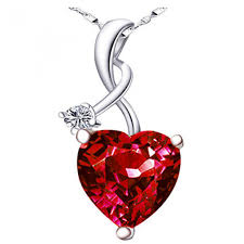 pws002cr sterling silver 10mm heart cut created ruby pendant with 18