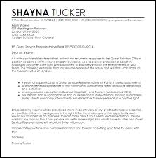 Customer Service Representative Cover Letter Template Guest Services