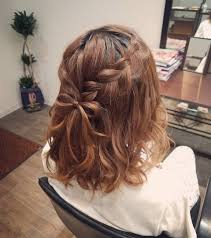 平原さんのヘアスタイル ボブアレンジ編み込みりぼん Tredina