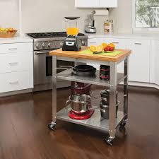 full size of kitchen fascinating kitchen cart stainless steel natural bamboo top 2 shelf storage