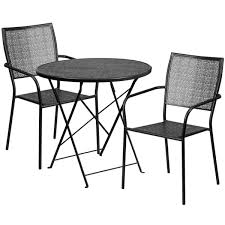 30 round black indoor outdoor steel folding patio table set with 2 square