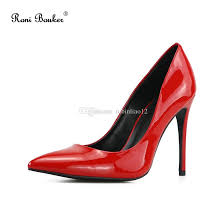 new patent leather shallow fashion women s high heels shoes black red color pointed toe woman pumps show thin female office shoe