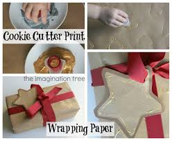 for day 3 of the countdown we are showing how simple and easy it is to make some homemade wrapping paper using cookie cutters dipped into a shallow tray