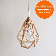 industrial vintage suspension light shade pendant light cage wooden 3d printed diamond
