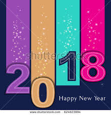 Happy new 2018 year. Seasons Greetings. Bright, vivid colors. Vector  illustration and