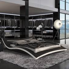 Led Bedroom Furniture Seducce Modern Black Bed With Led Lighting Queen And King Ebay