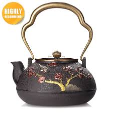 japanese magpie plum cast iron teapot