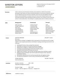 Restaurant Assistant Manager resume 1 ...