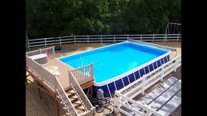 Noted Rectangle Above Ground Pools Pool Deck Designs YouTube Www