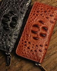 Handmade leather long clutch biker trucker chain wallet coffee ...