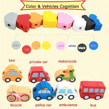 Newraturner Lacing Vehicles Toy Wooden Block Set ... - Amazon.com