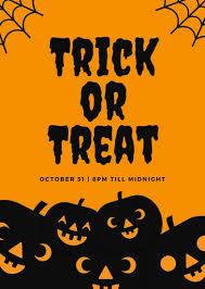 halloween template flyer orange and black trick or treat halloween flyer templates by canva
