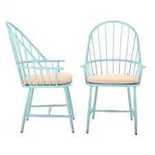 martha stewart patio chairs blue hill blue aluminum outdoor dining chairs with beige tan cushions 2