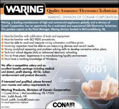 quality assurance technicians quality assurance electronics technician waring division