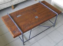 Steel Coffee Table Frame Reclaimed Wood Coffee Table Top With Metal Base Youtube