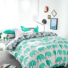 whole fresh green elephant white linens bedding sets high end cotton twin single double queen size duvet cover set sheets sets duvet cover kids bedding