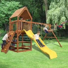 tree frogs toucan fort premium cedar wooden swing sets