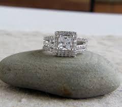 925 Sterling Silver Set Of 2 3 5 Ct Cz Princess Cut Halo Bridal