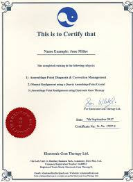 Training And Certificates For Electronic Gem Therapy, Etc..