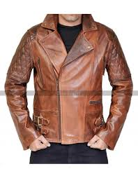 mens brown distressed leather marlon brando biker motorcycle jacket
